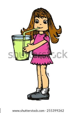 Girl drinking from a straw