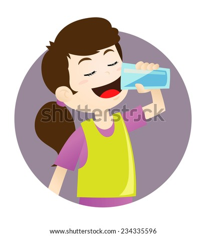 Girl drinking water - stock vector