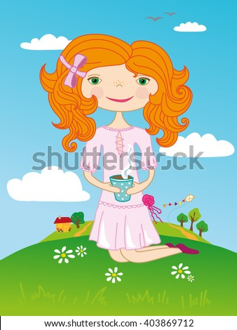 Girl drinks tea on a green hill. Hand draw illustration.