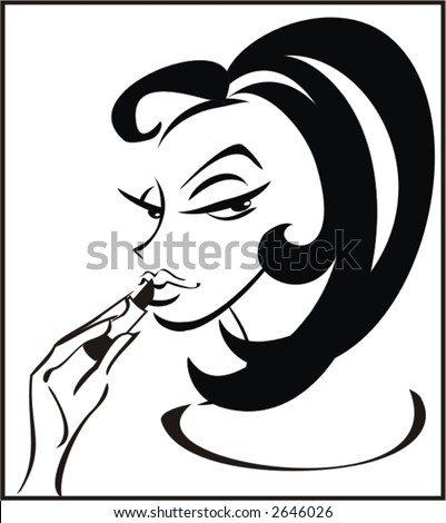 girl dyes lips,logo