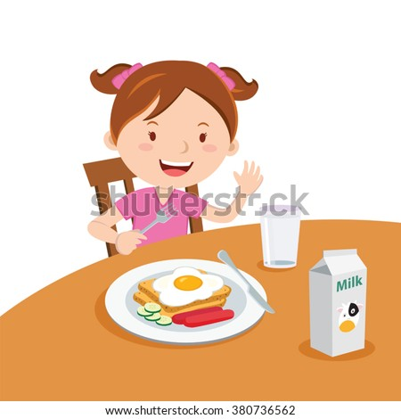 Girl eating breakfast. Vector illustration of a cute girl eating breakfast. - stock vector