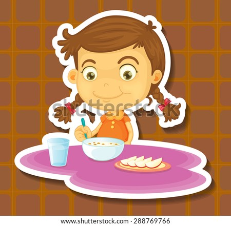 Girl eating cereal and apple for breakfast - stock vector