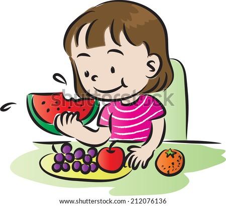 Cat Eating Watermelon Cartoon