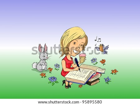 Girl eating ice cream and writes notebook - stock vector