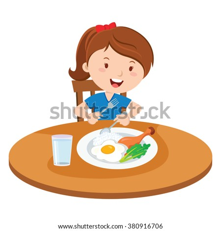 Girl eating meal. Vector illustration of a little girl eating lunch. - stock vector