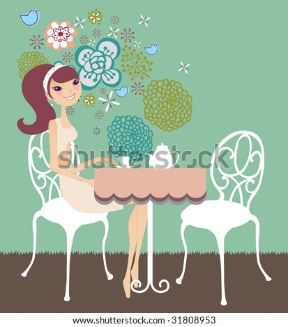 girl enjoying tea break - stock vector