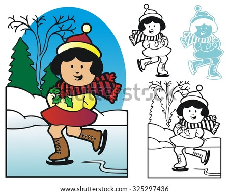 Girl enjoying the winter season by skating on a frozen pond - stock vector
