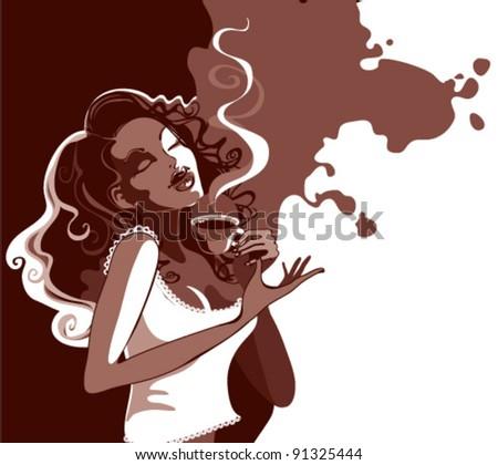 girl enjoys the aroma of coffee - stock vector