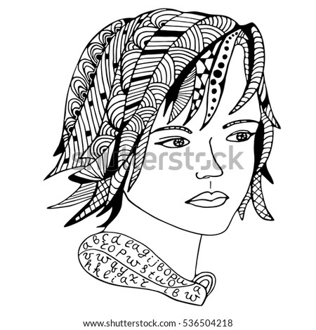 Girl face Hand drawn sketched vector illustration. Doodle woman face graphic with ornate pattern. Design Isolated on white.