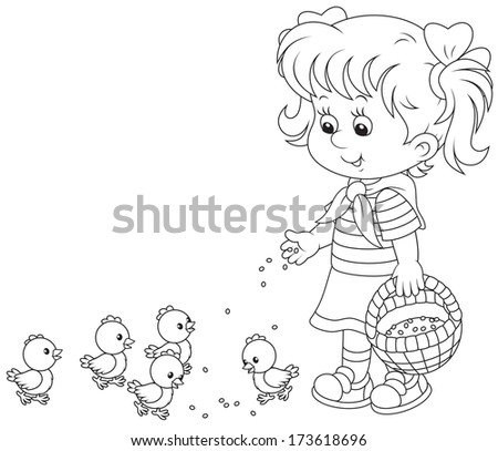 girl feeds a brood of small chickens - stock vector