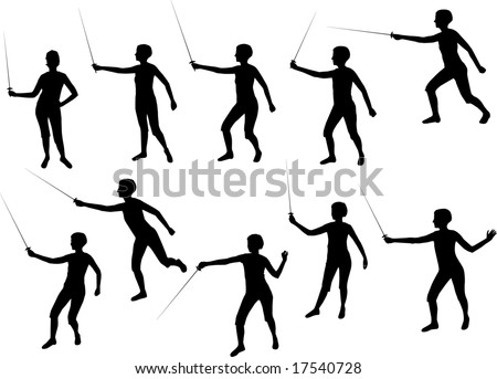 girl fencing silhouettes - stock vector