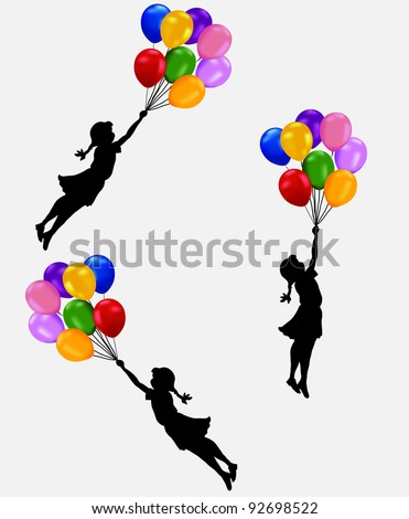 girl flying balloon - stock vector