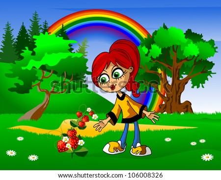 Girl gathers strawberries in the field near the forest (illustration); - stock vector