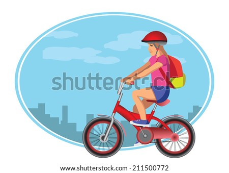 girl goes to school with bycicle - stock vector