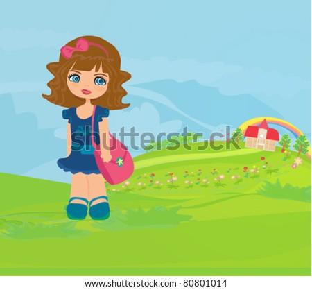 girl going to school - stock vector