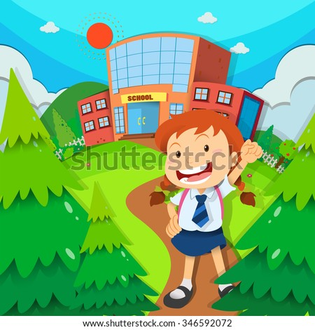 Girl going to school illustration