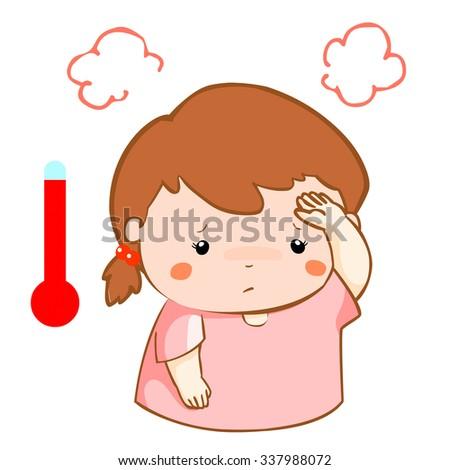 girl got high temperature cause flu disease vector - stock vector