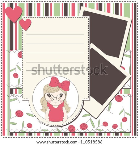 Girl greeting card with a cute girl , photo frame and place for text - stock vector