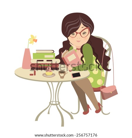 Girl having coffee and reading a book. Vector illustration