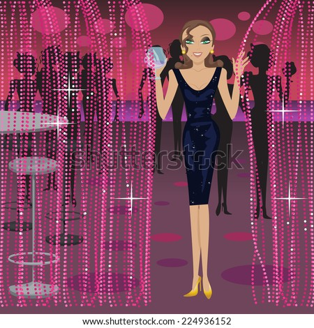 Girl Having Party At Nightclub - Vector Illustration, Graphic Design Editable For Your Design  - stock vector