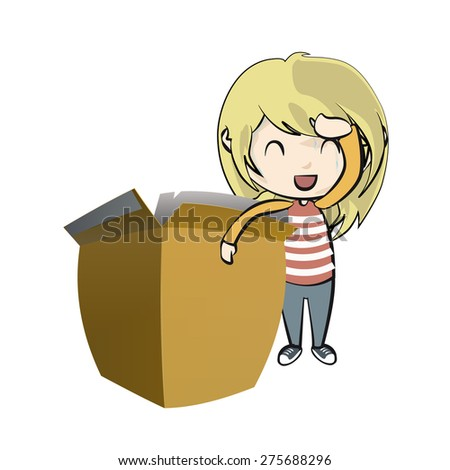 Girl holding a box