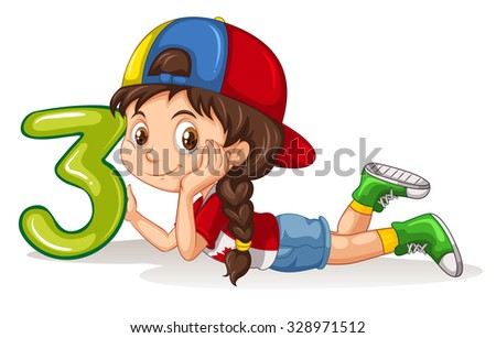 Girl holding number three illustration