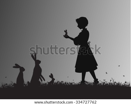 girl holding small hare or rabbit hare on the flowering meadow black and white, silhouette animal family, shadows, Alice`s friends - stock vector