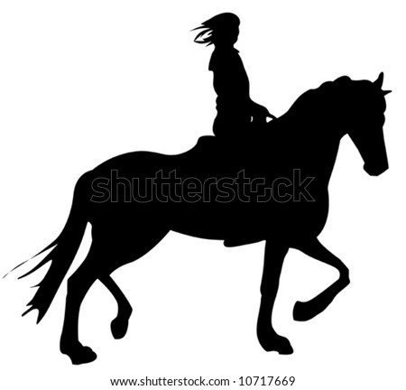 girl horseback riding silhouette