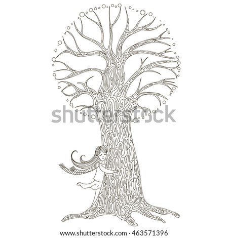 Girl hugging a tree. Hand drawn vector