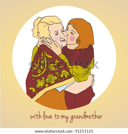 girl hugging grandma