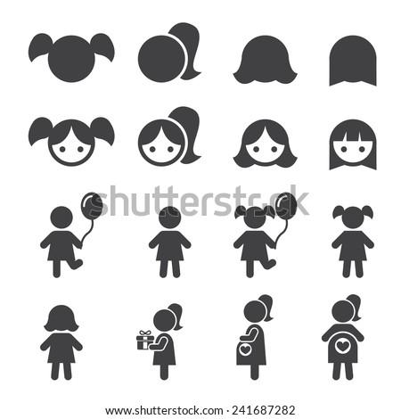 girl icon - stock vector