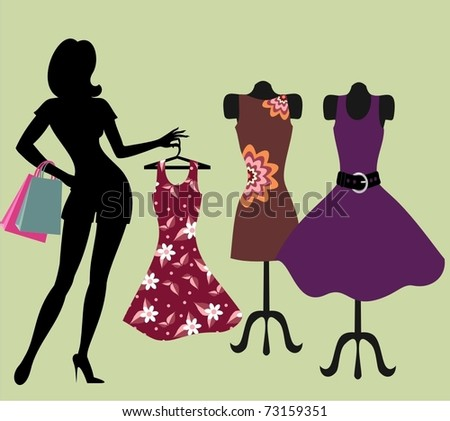 girl in a clothing store. - stock vector