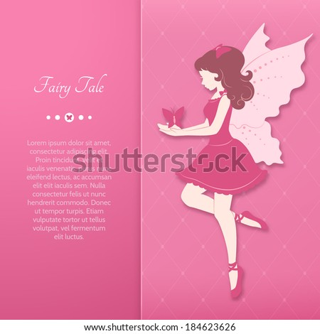 Girl in a pink dress with fairy wings. Vector illustration.  - stock vector