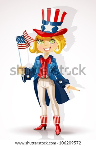 Girl in a suit of Uncle Sam and with flag USA Celebrates 4th July - stock vector