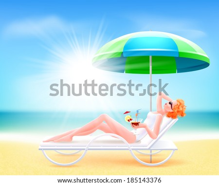 Girl in a white bathing suit lying on a chaise lounge. The sun shines brightly. Blue sky. Sea. Rest. Woman holding a cocktail in hand. Worth over lounger parasol. Summer. Beach. - stock vector