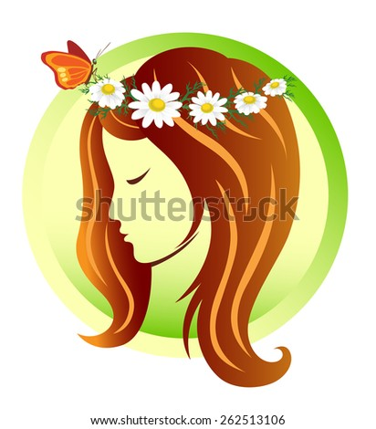 Girl in a wreath of daisies - stock vector