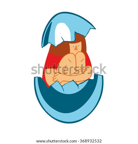 girl in an eggshell. Sad teenager girl with crossed arms and lonely expression - stock vector