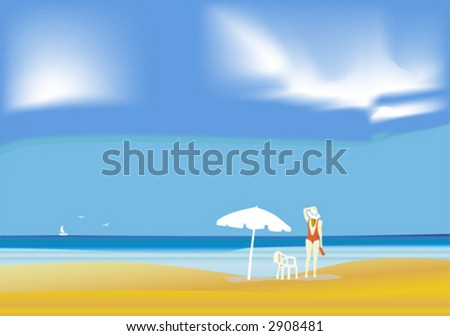 girl in beach - stock vector