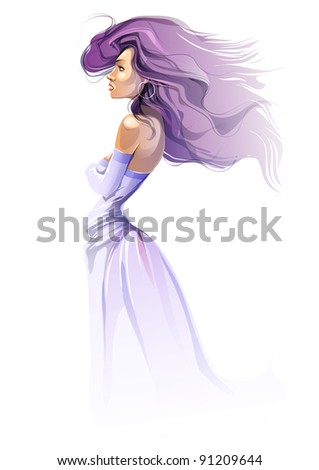 girl in blue vector illustration - stock vector