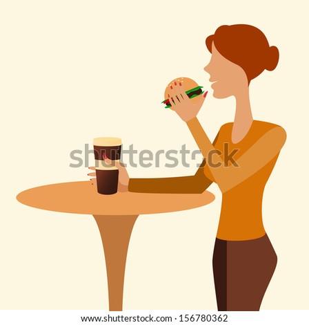 girl in cafe - stock vector