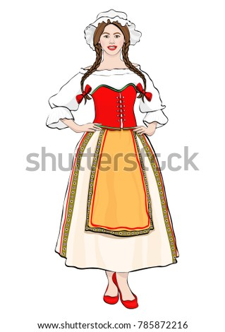 Girl in French national costume standing front side, vector drawing portrait. A brunette woman full-length with pigtails and cap, in old traditional dress with an apron, isolated on white background