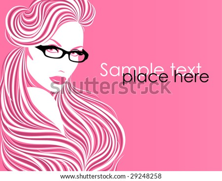 Girl in glasses. Beautiful vector illustration. - stock vector