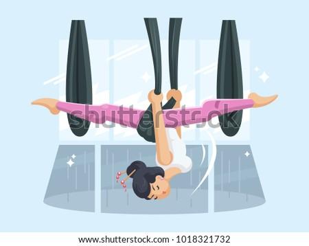 girl in hammock doing fly yoga  anti gravity yoga  vector illustration  girl hammock doing fly yoga antigravity stock vector 1018321732      rh   shutterstock