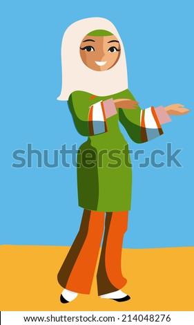 girl in hijab. vector illustration - stock vector