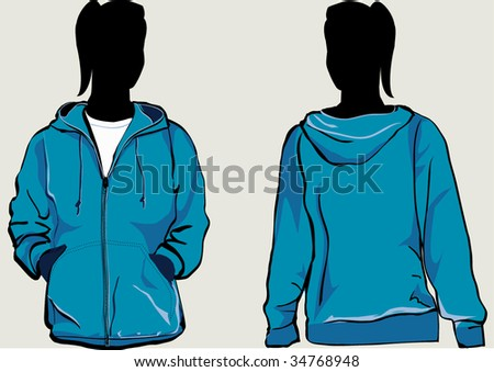 Girl in hooded sweatshirt with zipper in front and back - stock vector