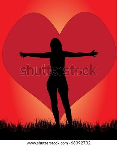 Girl in love - stock vector