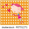 Girl in Love with hearts - stock vector