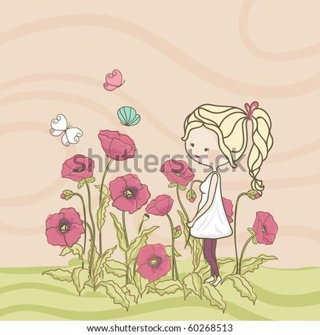 girl in poppy field - stock vector