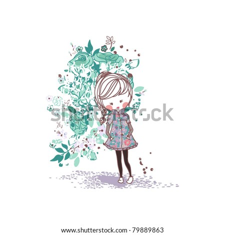 girl in rose garden - stock vector
