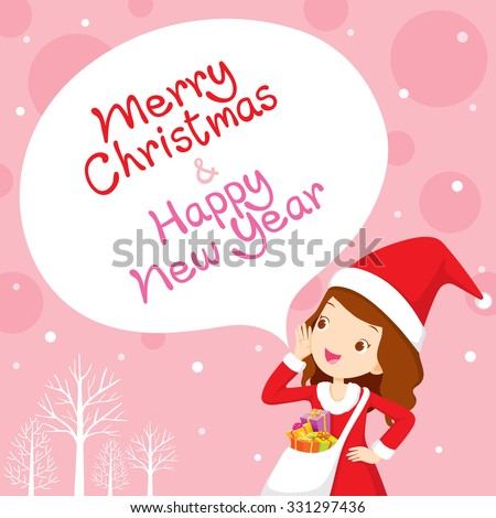 Girl In Santa Costume Shouting, Pink Background, Happy New Year, Merry Christmas, Xmas, Objects, Festive, Celebrations - stock vector